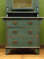Antique Painted Blue Dressing Table Chest of Drawers, Bohemian Shabby Chic (2 of 14)