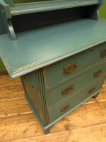 Antique Painted Blue Dressing Table Chest of Drawers, Bohemian Shabby Chic (9 of 14)