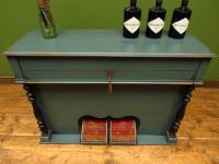 Antique Painted Blue Harmonium Pump Organ, the 'Barmonium' Bar or Console Table (17 of 18)