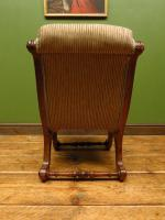 Antique Slipper Chair Small Bedroom Nursing Chair with Striped Fabric (7 of 15)