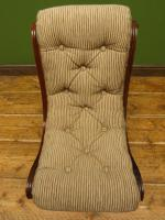 Antique Slipper Chair Small Bedroom Nursing Chair with Striped Fabric (14 of 15)