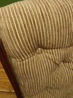 Antique Slipper Chair Small Bedroom Nursing Chair with Striped Fabric (3 of 15)