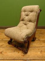 Antique Slipper Chair Small Bedroom Nursing Chair with Striped Fabric (13 of 15)