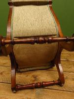 Antique Slipper Chair Small Bedroom Nursing Chair with Striped Fabric (15 of 15)