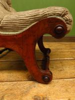 Antique Slipper Chair Small Bedroom Nursing Chair with Striped Fabric (5 of 15)