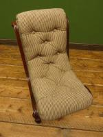 Antique Slipper Chair Small Bedroom Nursing Chair with Striped Fabric (2 of 15)