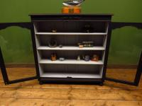 Painted Black Display Cabinet Bookcase, Adjustable Shelves, Lockable, Gothic (14 of 16)