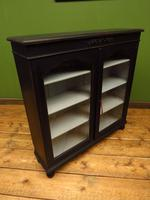 Painted Black Display Cabinet Bookcase, Adjustable Shelves, Lockable, Gothic (10 of 16)