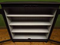 Painted Black Display Cabinet Bookcase, Adjustable Shelves, Lockable, Gothic (4 of 16)