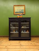 Painted Black Display Cabinet Bookcase, Adjustable Shelves, Lockable, Gothic (12 of 16)