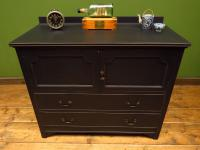 Antique Black Painted Chest of Drawers with Cabinet, Gothic Shabby Chic (13 of 13)