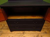 Antique Black Painted Chest of Drawers with Cabinet, Gothic Shabby Chic (5 of 13)