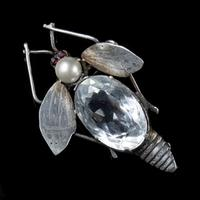 Antique Art Deco Rock Crystal Garnet Insect Brooch Silver c.1920