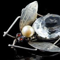Antique Art Deco Rock Crystal Garnet Insect Brooch Silver c.1920 (3 of 5)