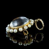 Antique Victorian Stuart Crystal Pearl Diamond Locket Brooch c.1880 (5 of 6)