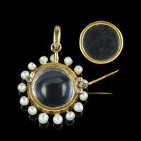 Antique Victorian Stuart Crystal Pearl Diamond Locket Brooch c.1880 (3 of 6)