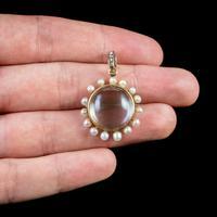 Antique Victorian Stuart Crystal Pearl Diamond Locket Brooch c.1880 (2 of 6)