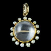 Antique Victorian Stuart Crystal Pearl Diamond Locket Brooch c.1880