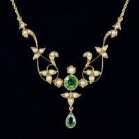 Antique Victorian Peridot Pearl Necklace 15ct c.1900