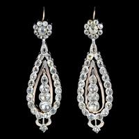 Antique Georgian Portuguese Crystal Drop Earrings Silver 18ct Gold c.1820 (2 of 6)