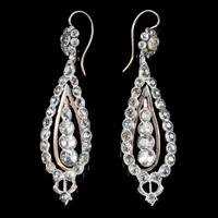 Antique Georgian Portuguese Crystal Drop Earrings Silver 18ct Gold c.1820