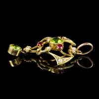 Antique Edwardian 9ct Gold Ruby Peridot Pearl Pendant c.1910 (5 of 5)