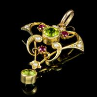 Antique Edwardian 9ct Gold Ruby Peridot Pearl Pendant c.1910 (4 of 5)