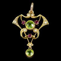 Antique Edwardian 9ct Gold Ruby Peridot Pearl Pendant c.1910