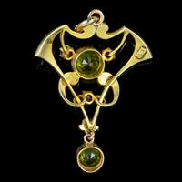 Antique Edwardian 9ct Gold Ruby Peridot Pearl Pendant c.1910 (2 of 5)
