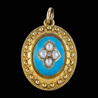 Antique Victorian Etruscan Revival Blue Enamel Pearl Mourning Locket 18ct Gold c.1860