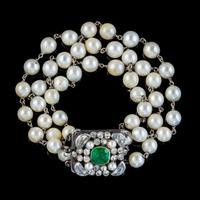 Antique Pearl Bracelet Green Paste Silver Clasp Austro Hungarian c.1890