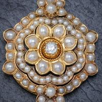 Antique Victorian Pearl Diamond Flower Pendant 18ct Gold C.1890 (4 of 6)