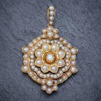 Antique Victorian Pearl Diamond Flower Pendant 18ct Gold C.1890 (2 of 6)