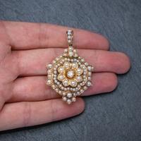 Antique Victorian Pearl Diamond Flower Pendant 18ct Gold C.1890 (6 of 6)