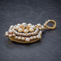 Antique Victorian Pearl Diamond Flower Pendant 18ct Gold C.1890 (5 of 6)