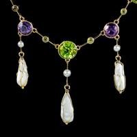 Antique Suffragette Necklace Baroque Pearls Amethyst Peridot 15ct Gold c.1910 (2 of 5)