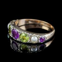 Antique Suffragette Amethyst Peridot Pearl Ring 9ct Gold c.1910 (4 of 6)