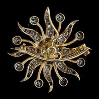 Antique Victorian Star Brooch Pendant 18ct Gold Silver 3.30ct Diamonds Boxed c.1880 (2 of 7)