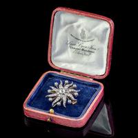 Antique Victorian Star Brooch Pendant 18ct Gold Silver 3.30ct Diamonds Boxed c.1880 (5 of 7)