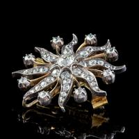 Antique Victorian Star Brooch Pendant 18ct Gold Silver 3.30ct Diamonds Boxed c.1880 (7 of 7)