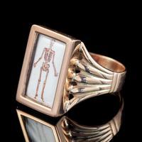Memento Mori Enamel Skeleton Ring Antique Mount 9ct Gold (4 of 6)