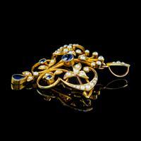 Antique Victorian Art Nouveau Sapphire Pearl Pendant Brooch 15ct Gold c.1900 (4 of 5)