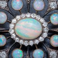 Antique Victorian Opal Diamond Brooch Natural 5.1ct Opals c.1890 (5 of 6)