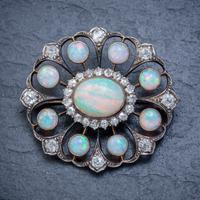 Antique Victorian Opal Diamond Brooch Natural 5.1ct Opals c.1890 (6 of 6)