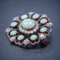 Antique Victorian Opal Diamond Brooch Natural 5.1ct Opals c.1890 (4 of 6)