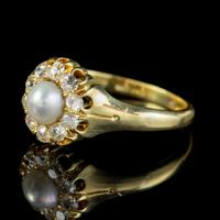 Antique Victorian Pearl Diamond Cluster Ring 18ct Gold c.1890 (4 of 5)