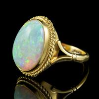 Vintage Opal Ring 18ct Gold Natural 8ct Opal c.1980 (5 of 6)