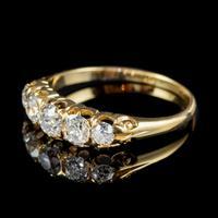 Antique Victorian Diamond Five Stone Ring 1ct Old Cut Diamonds 15ct Gold c.1890 (4 of 6)