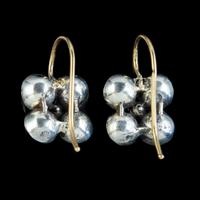 Georgian Flat Cut Garnet Diamond Earrings Silver Gold (2 of 5)