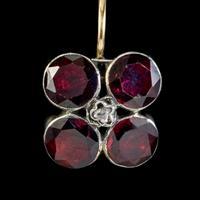 Georgian Flat Cut Garnet Diamond Earrings Silver Gold (3 of 5)